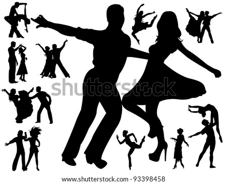 Dancing people - stock vector