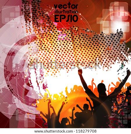 Dancing people. Concert illustration - stock vector