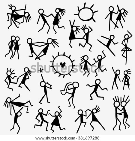 dancing people doodles