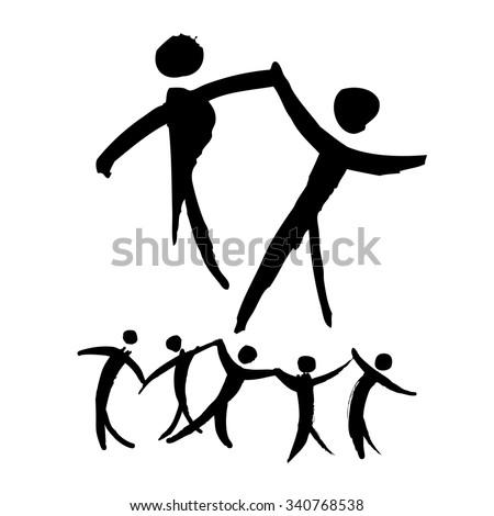 Dancing people hand drawn illustration. Logo and label template. Dancing dancer Ballet, Jazz, Belly, Ballroom, Swing, Break, Modern, Latin, Tango, Flamenco. Pictograph Icon - stock vector