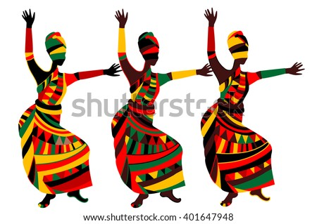 dancing people in ethnic style to fit the needs of your project - stock vector