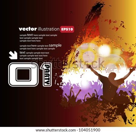 Dancing people. Music illustration. - stock vector