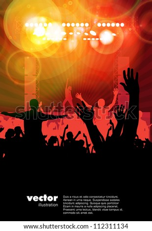 Dancing people. Music illustration. - stock vector