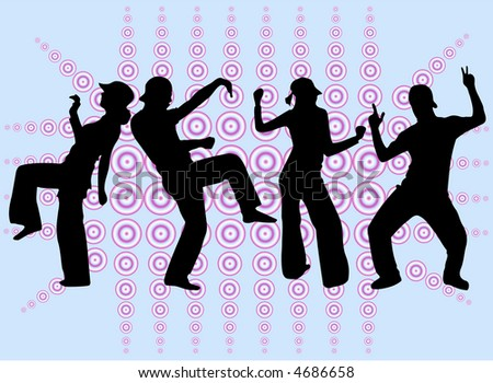 Dancing people silhouettes -background, vectors work