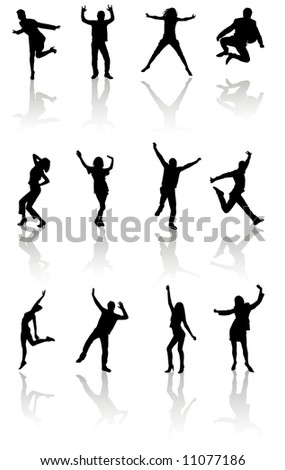 dancing people silhouettes vector design for your use
