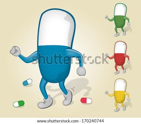 Dancing Pill - stock vector