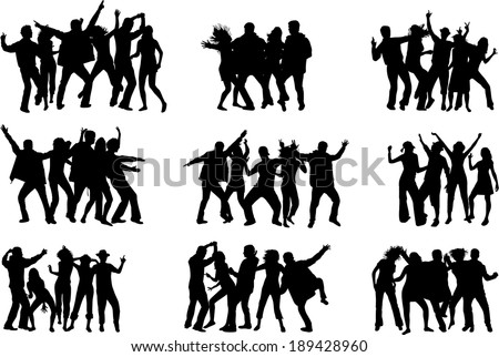 Dancing silhouettes - stock vector