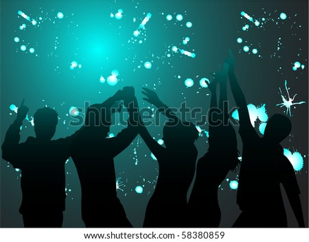 Dancing silhouettes-grunge background - stock vector