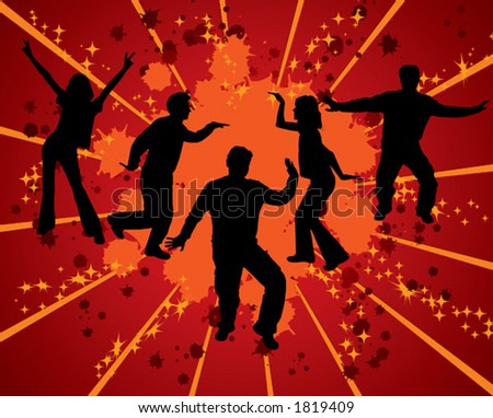 Dancing silhouettes on grunge background, vector illustration