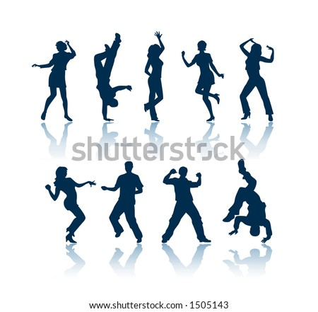"Dancing silhouettes. To see all my silhouettes, search by keywords: ""agb-svect"" or ""agb-srastr"" - stock vector"