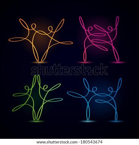 Dancing swirly line figures glowing on black background - stock vector