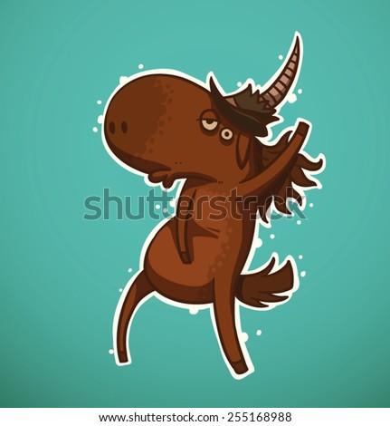 dancing unicorn, vector - stock vector