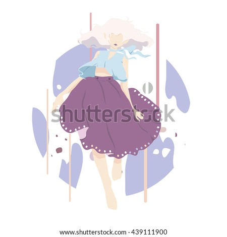 dancing woman, vector background