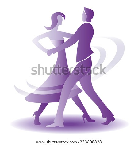 Dancing young couple. Young couple dancing ballroom dance. Violet vector illustration.  - stock vector