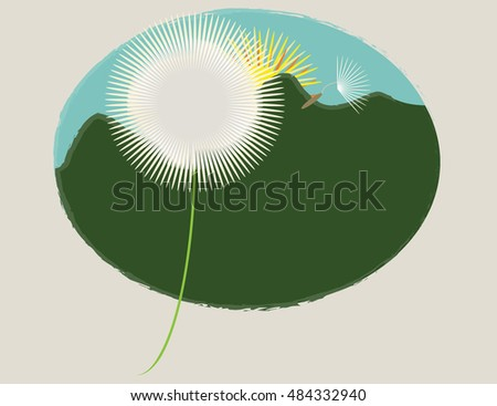 Dandelion and blowing seed set against mountains and setting sun