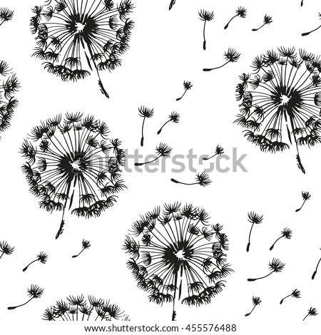 Dandelion and seeds blowing in the wind seamless pattern, vector black and white background - stock vector