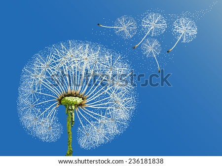 Dandelion and some flying seeds carried by the wind on a blue sky.Vector abstract