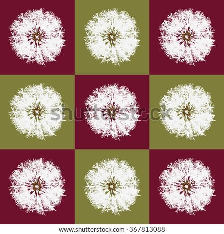 Dandelion back pattern pop-art red - stock vector