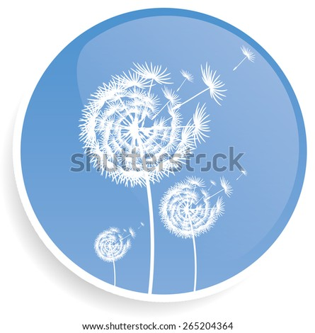 Dandelion blue button design illustration  - stock vector