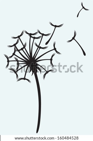 Dandelion on a wind isolated on blue background - stock vector