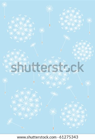 dandelion pattern blue - stock vector