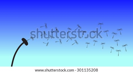 dandelion seeds fly away in the wind on a blue background - stock vector