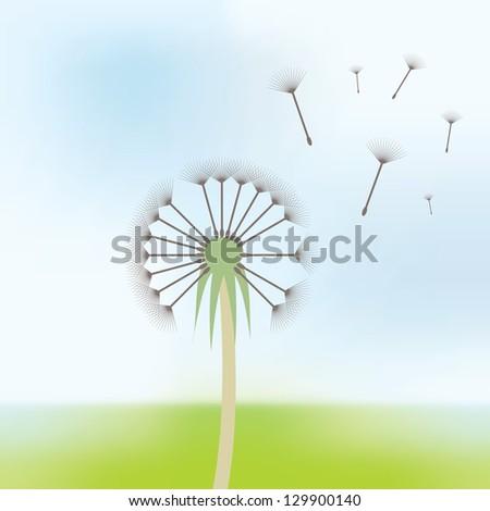 dandelion seeds flying in the wind - stock vector