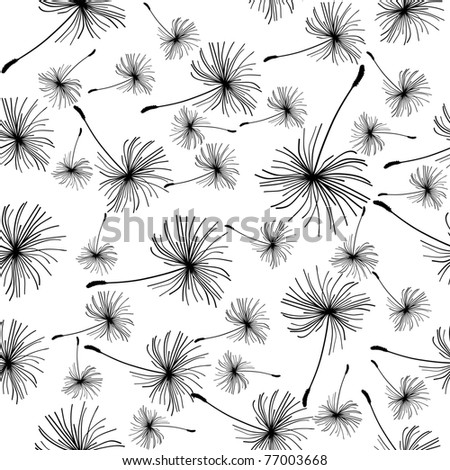 Dandelion seeds seamless black and white background. - stock vector