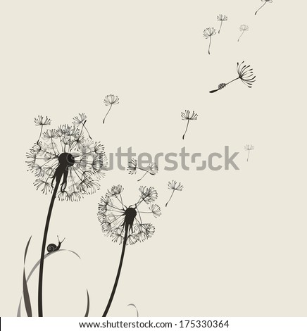 Dandelion silhouette snail and ladybug, light colors - stock vector