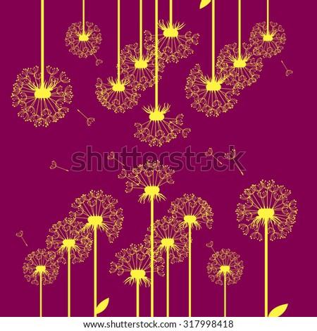 dandelion vector background botany flower blossom fluffy - stock vector