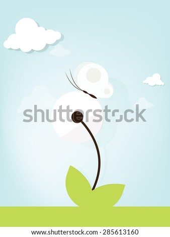 Dandelion with butterfly - stock vector