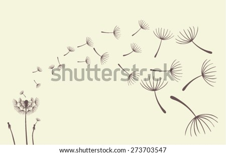 Dandelions on the cream  background. Vector