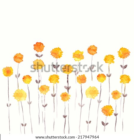 Dandelions. Yellow flowers. Watercolor floral bouquet. Floral background. Birthday card. - stock vector