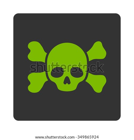 Danger And Bones vector icon. Style is flat rounded square button, eco green and gray colors, white background. - stock vector