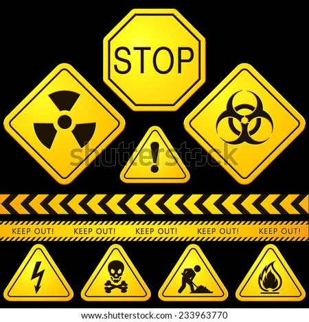 Danger and Caution Street Signs - stock vector