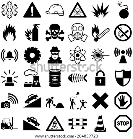 Danger and Warning icon collection - vector illustration  - stock vector