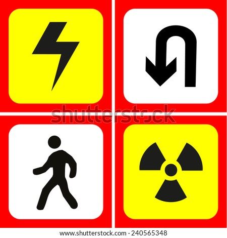 Danger and warning icons set great for any use. Vector EPS10. - stock vector
