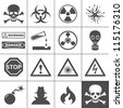 Danger and warning icons. Simplus series. Each icon is a single object (compound path) - stock photo