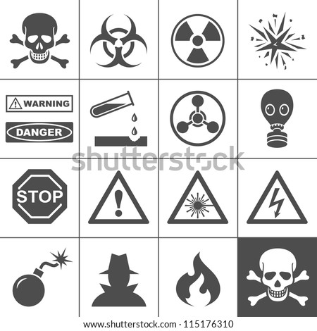Danger and warning icons. Simplus series. Each icon is a single object (compound path) - stock vector