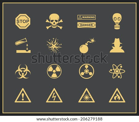 Danger and warning icons. Vector icons of attention and hazrd - stock vector