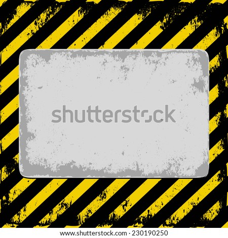danger background with gray plate - stock vector