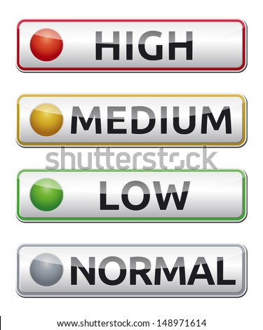 Danger board with high, medium, low, normal label. Isolated vector. - stock vector
