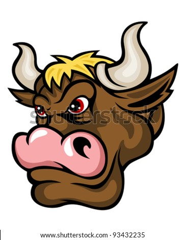 Danger brown bull in cartoon style. Vector illustration - stock vector