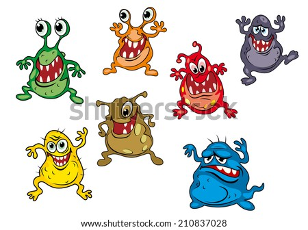 Danger cartoon monsters isolated on white background with uggly faces - stock vector