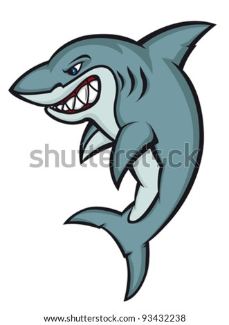 Danger cartoon shark logo isolated on white. Vector illustration - stock vector