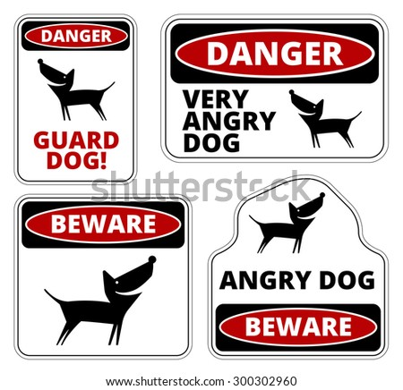 Danger Dog Signs Humorous Comic Labels and Plates Collection. Vector EPS8 set