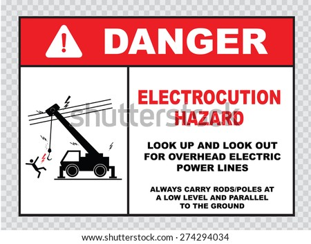 danger electrocution hazard or electrical safety sign (look up and look out for overhead electric power lines, carry rods/poles)  - stock vector