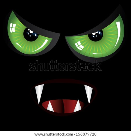 Danger evil face with green eyes and fangs on black background. - stock vector