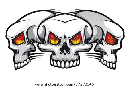 Danger evil skulls as a tattoo isolated on white or for halloween design. Jpeg version also available - stock vector