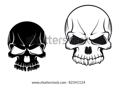 Danger evil skulls for tattoo or mascot design, such a logo. Rasterized version also available in gallery - stock vector